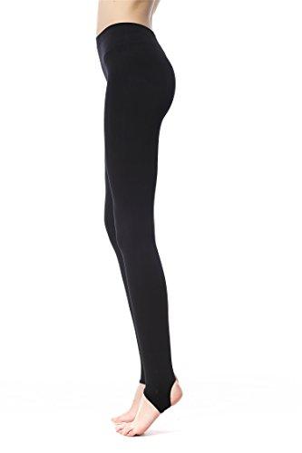 (Fay Fay Women's Basic Stirrup Leggings Full Length Regular Yoga Pant Balck S )