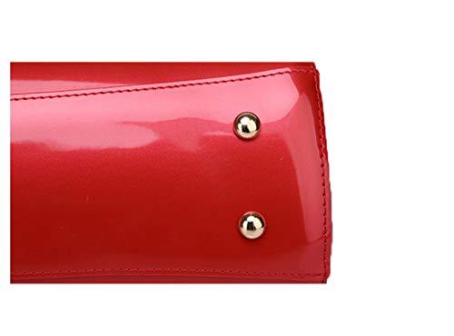 Fashion Donna Cmbyn Brillantini Nuovo Borsetta Spalla Pacchetto Borse Monocolore Luccicanti Pratico verniciata Rosso Pelle S5dBFdwq