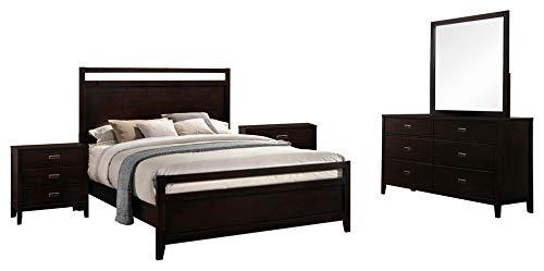 Kovar 5 Piece Bedroom Set, Queen, Dark Cherry Wood, Contemporary (Panel Bed, Dresser, Mirror, 2 - Queen Piece Panel 5