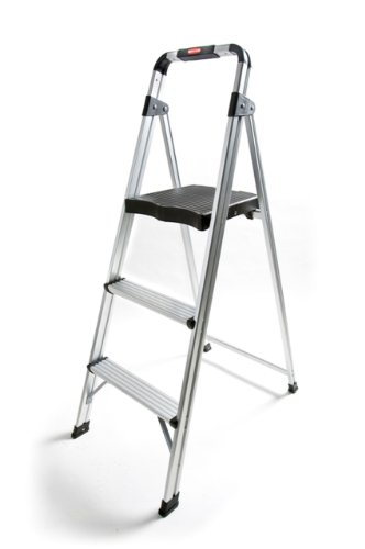 Rubbermaid RM-AUL3 3-Step Ultra-Light Aluminum Stool with Plastic Top Step, 225-Pound Capacity, Silver Finish