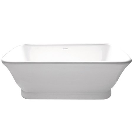 (Kingston Brass Aqua Eden VTDE713524 Contemporary Double Ended Acrylic Bath Tub with Drain, 71-Inch, White)