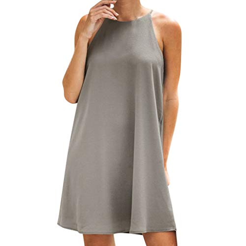 Shisay Womens Round Halter Neck Sleeveless Empire Pleated A-line Casual Dresses Gray