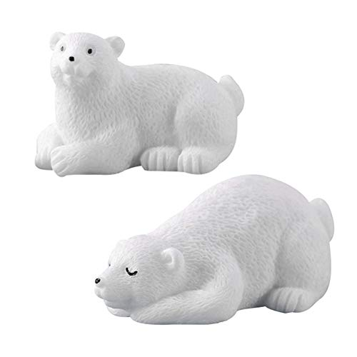 Yamalans 2pcs Cute Polar Bear Shape Model DIY Fairy Garden Desktop Crafts Miniature Landscape Bonsai Decor DIY Ornaments Random Style