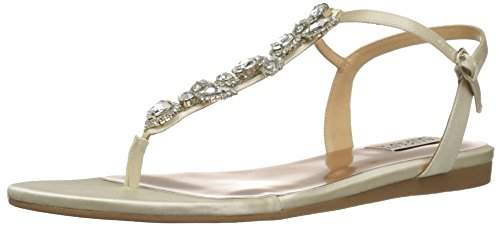 Badgley Mischka Women's Sissi Flat Sandal, Ivory, 7.5 M US