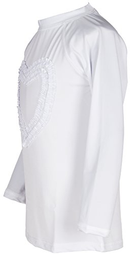 Girls' Ruffled Valentine Solid Rash Guard Swim Shirts UPF 50+ Sun Protective (12, White Long) by Holy Unicorn (Image #2)