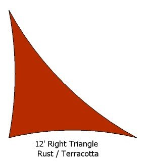12 Right Triangle Rust Color Premium Quality Heavy Duty Sun Shade Sail Made in USA