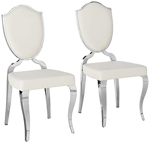 Milan Leticia Heart Back Cabriole Designed Side Chairs, Set of 2