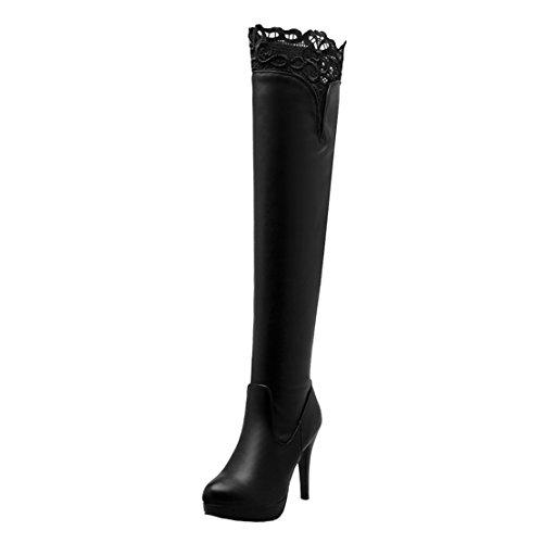 AIYOUMEI Damen Winter Hoher Stretch Overknee Stiefel mit Spitze Plateau Langschaft Modern Stiefel Schuhe Schwarz