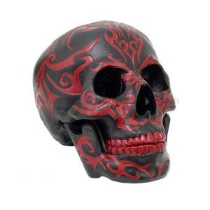 7.75 Inch Red and Black Tribal Print Skeleton Skull Statue Figurine ()