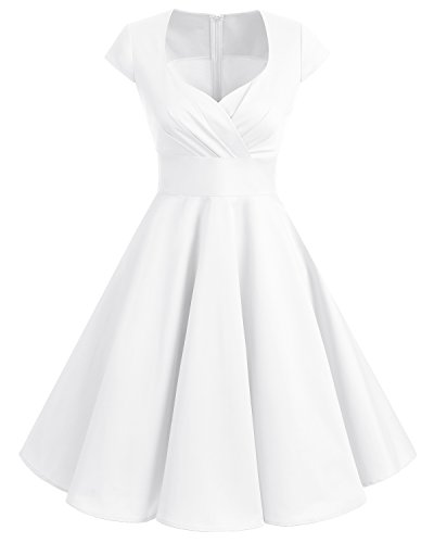 Bbonlinedress Women Short 1950s Retro Vintage Cocktail Party Swing Dresses Off White XS