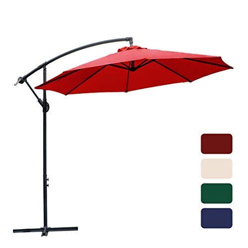 FARLAND 10 ft Offset Cantilever Patio Umbrella Outdoor Market Hanging Umbrellas & cranks, 8 Ribs (Red)