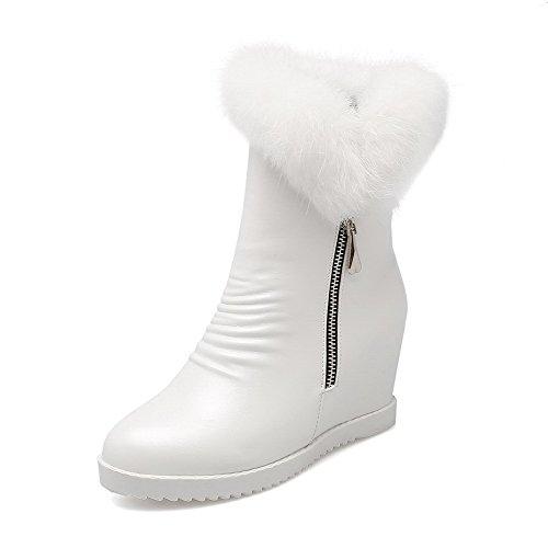 AgooLar Damen Rein PU Hoher Absatz Reißverschluss Rund Zehe Stiefel Weiß