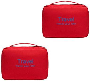 トラベルトイレタリーバッグフック付きポータブルメンズレディース化粧品ストレージ主催防水ジムホームジム飛行機のホテルカーの使用のバッグ,赤