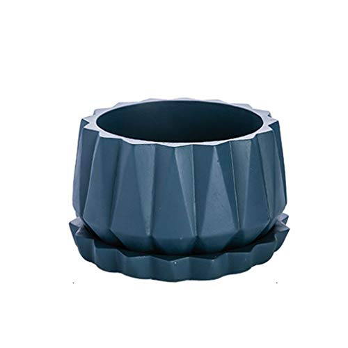 CSQ Three-Color Cement Flower Pot - Origami Pattern Oval Flower Pot with Tray Blue Gray Black Balcony Small Flower Pot On The Table Large Flower Pot Flower Stand (Color : Blue, Size : 1911.5cm) by Flowers and friends