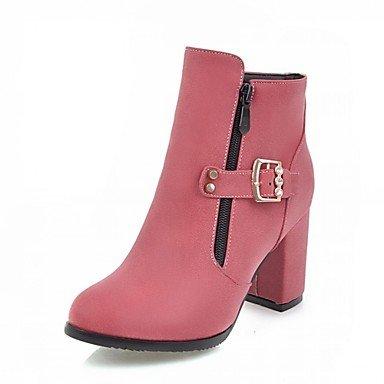 Heart&M Damen Schuhe Kunstleder Herbst Winter Komfort Neuheit Stiefeletten Stiefel Blockabsatz Runde Zehe Booties / Stiefeletten Reißverschluss gray