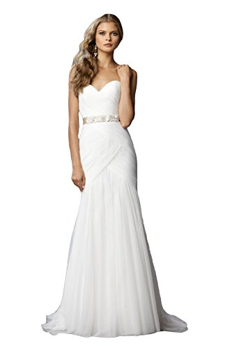 NINI.LADY Women's Sweetheart Beaded Sash Sheath Custom Made Tulle Wedding Dress White US14