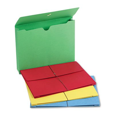 2'' Accordion Expansion Wallet, Elastic Cord, Ltr, Blue/Green/Red/Yellow, 50/Box, Total 50 EA, Sold as 1 Carton