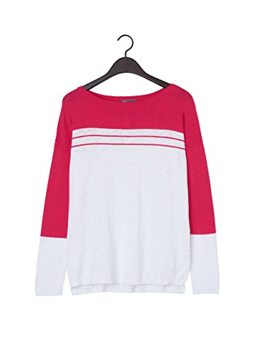 Vince Slub Cotton Striped-Yoke Sweater, Optic White/Raspberry (Large)
