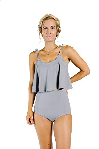 Kortni Jeane - High Waisted Swimsuit Bottoms - Two Piece Mix & Match Swimwear for Women, Teens, Juniors Grey, X-Small