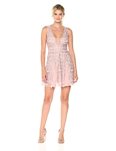 (BCBGMax Azria Women's Pheobe Knit Ruffled Dress with Back Cut Out, Antique Rose, 0)