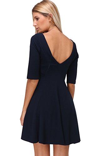 in col Made en Revdelle Femme robe France pour V Bleu 3 Marine 4 evasee manches ENORA 45Fzqw