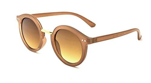 Dollhouse Women's Round Sunglasses, Milky Tan Frame with Metal Bridge, APG Brown Lens, - Sunglasses Dollhouse