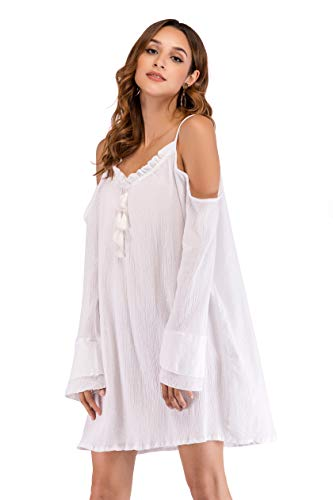 a953085ee10f0 SUNNOW Women Simple Style Sexy Oversize Bikini Cover Up Beach Blouse Dress  at Amazon Women s Clothing store