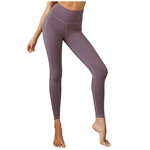 (Women Yoga Pants High Waist Tummy Control Ruched Butt Lifting Workout Tights Leggings Purple)