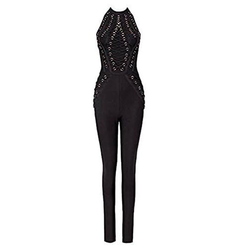 af4bf71747 Whoinshop Women s Sleeveless Lace Up Open Back Halter Bandage Pants Club  Jumpsuit Romper on sale