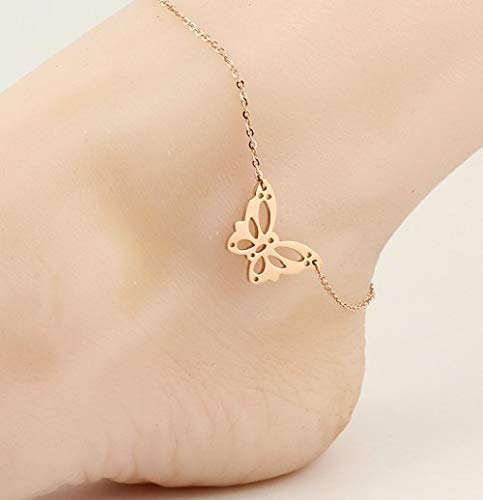 (Wholesale Cute Mini Puppy Foot Chain Anklet Ankle Bracelet Jewelry 14k Rose Gold Color Plated Hypoallergenic not Fade Temperament Women Girls Fashion Model (Rose Gold Hollow Big Butterfly anklets)