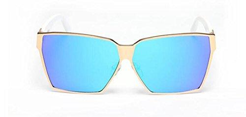 du Soleil Inspirées Steampunk Film et Hommes Style Pour Polarisées Retro Rond Bleu en Métallique Femmes Cercle Lunettes de 5q4xI