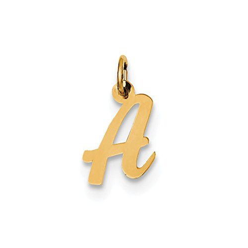 ICE CARATS 14k Yellow Gold Small Script Initial Monogram Name Letter A Pendant Charm Necklace Fine Jewelry Gift Set For Women Heart (Pendant Initial Small Yellow Gold)