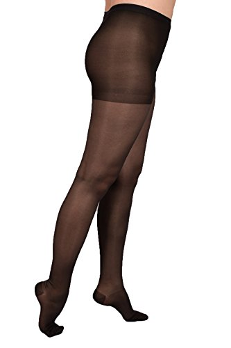 EvoNation Women's USA Made Graduated Compression Pantyhose 20-30 mmHg Firm Pressure Medical Quality Ladies Waist High Sheer Support Stockings - Best Circulation Panty Hose (Large, Black) ()