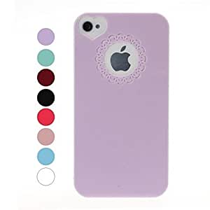 Engraving Flower Plastic Hard Protective Case for iPhone 4/4S , Blue