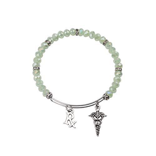 FEELMEM Pharmacy Pharmacist Bracelet RX Symbol Medical Caduceus Charm Bangle Bracelet RX Jewelry Pharmacy Technician Gift for Girl,Women (Silver)