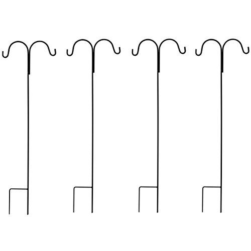 GrayBunny GB-6822D4 Double Shepherd Hooks, 35 Inch 4-Pack Black Solid Single Piece Steel, Hang Solar Lights Mason Jars Plant Hangers Flower Basket Christmas Lights Lanterns Garden Stakes Wedding Decor (Lantern Stakes)