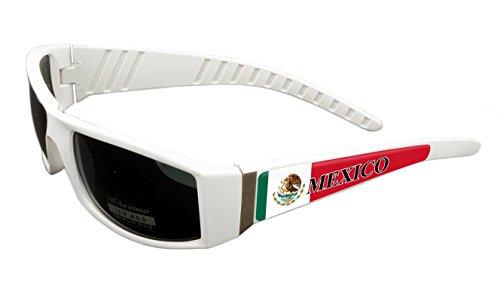Mexico Design White Frame/Black Lens 60mm Sunglasses Item # - Sunglasses Mexico