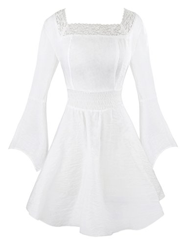 Costume Vintage Doll (Charmian Women's Victorian Gothic Tencel Cotton Lace Corset Top Tunic Dress White)
