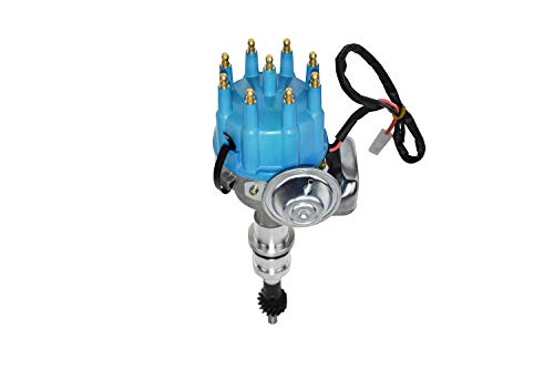 A-Team Performance R2R Ready To Run Complete Distributor Fits Ford Small Block SBF 289 302 Two-Wire Installation Blue Cap (Ford Distributor)