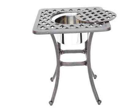 - Heritage Outdoor Living Nassau Cast Aluminum End Ice Square Table - Antique Bronze