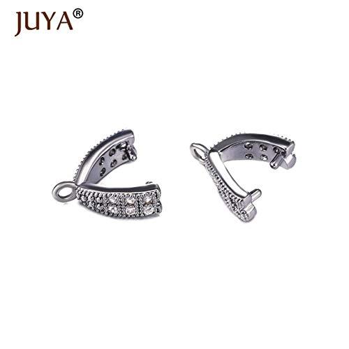 Jammas Jewelry Findings DIY Parts Accessories Crystal Agate Pendant Clasp Connectors Copper Pinch Clip Bail Link Pendants Clasps - (Color: Black, Size: 4 Pieces) ()