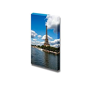 Canvas Prints Wall Art - Eiffel Tower and Seine River Under Blue Sky,Paris France | Modern Wall Decor/Home Art Stretched Gallery Canvas Wraps Giclee Print & Ready to Hang - 24