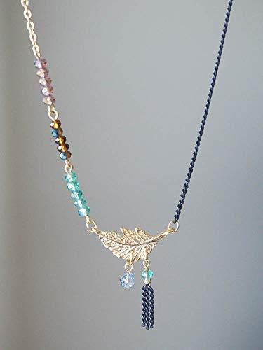 Multi Color Beads Stone Leaf Necklace