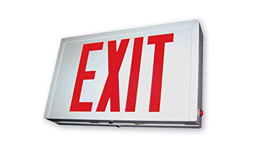 Steel Exit Sign - Exit Sign, Steel - Red Led - White Housing - Battery Backup