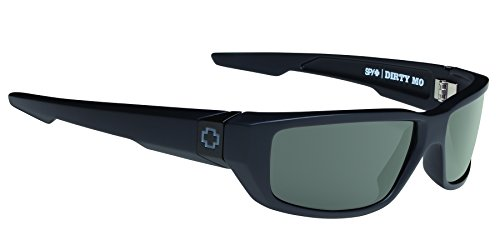 Spy Optic Dirty MO Flat Sunglasses, Soft Matte Black/Signature Happy Gray/Green Polar, 59 - Sunglasses Spy Fishing