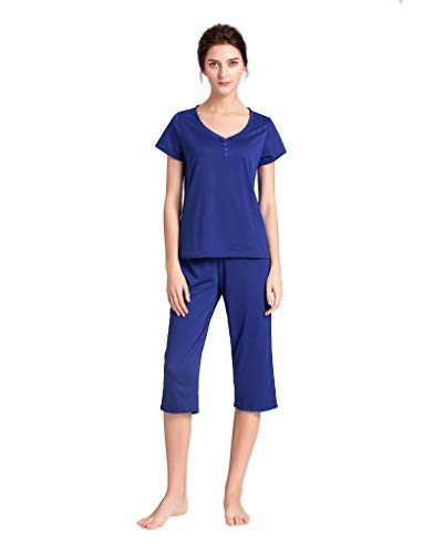 (YIJIU Women's V Neck Sleepwear Short Sleeves Top with Capri Pants Pajama Set)