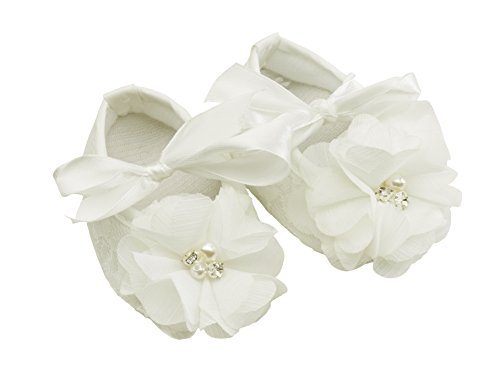 """""""Petals Collection"""" Ivory Lace Baptism Christening Shoes for Baby Girl (Size 1)"""