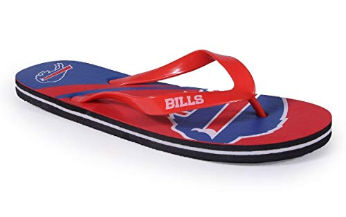 BUFBLG2-1 - Buffalo Bills- Small - Officially Licensed NFL Big Logo Flip Flops - Happy Feet and Comfy Feet