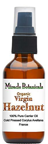 Miracle Botanicals Organic Hazelnut Oil - 100% Pure Therapeutic Grade Corylus Avellana Carrier Oil - 60ml/2oz.