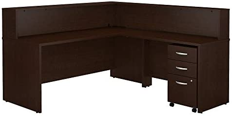 Bush Business Furniture Series C L Shaped Reception Desk with Mobile File Cabinet in Mocha Cherry